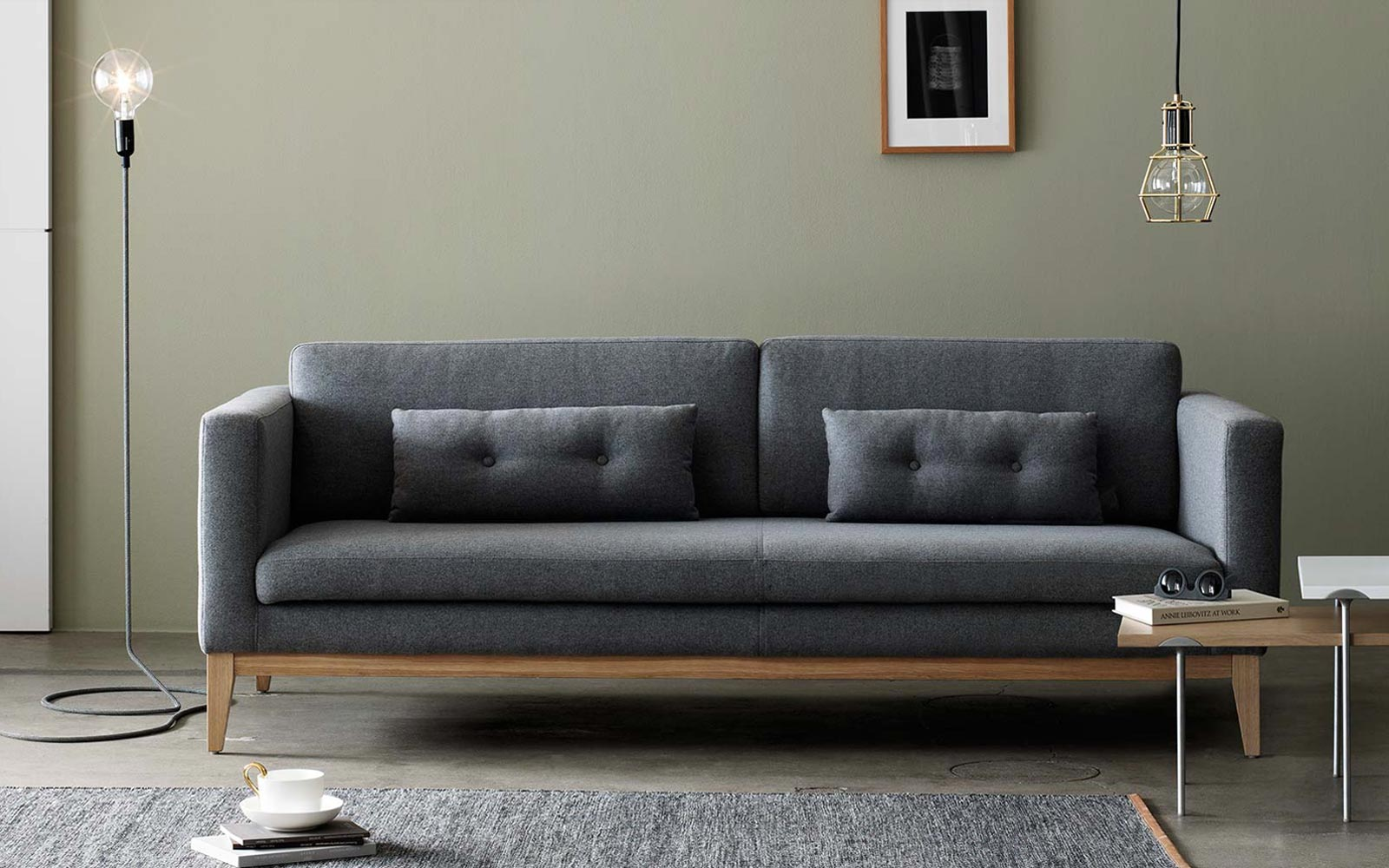 Mid-century modern sofa in living room