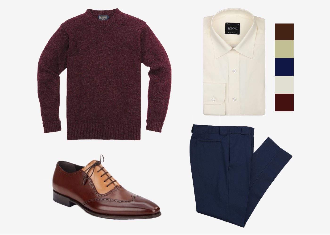 maroon, navy, and cream outfit idea with brown spectator shoes