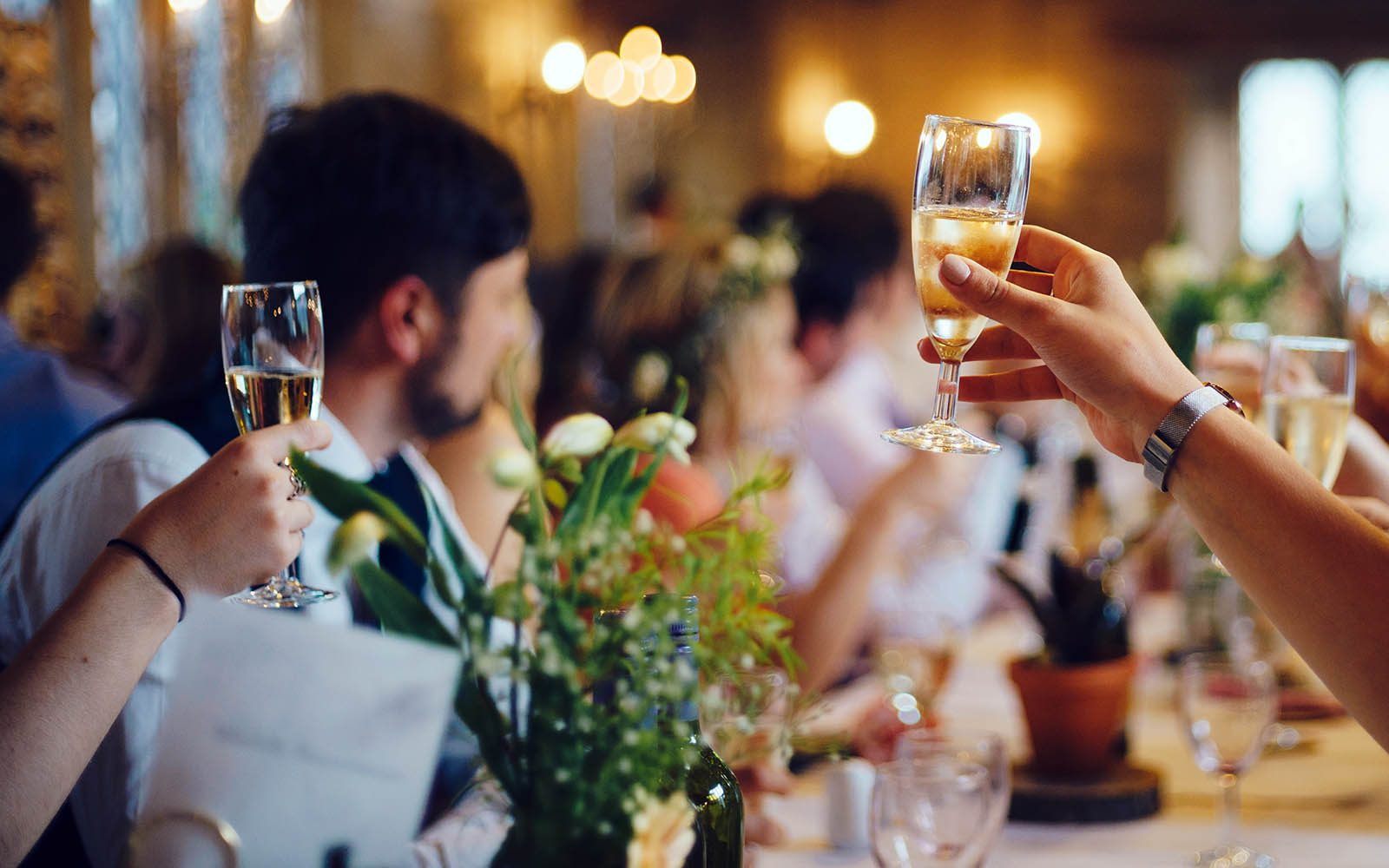 Cheers at a wedding
