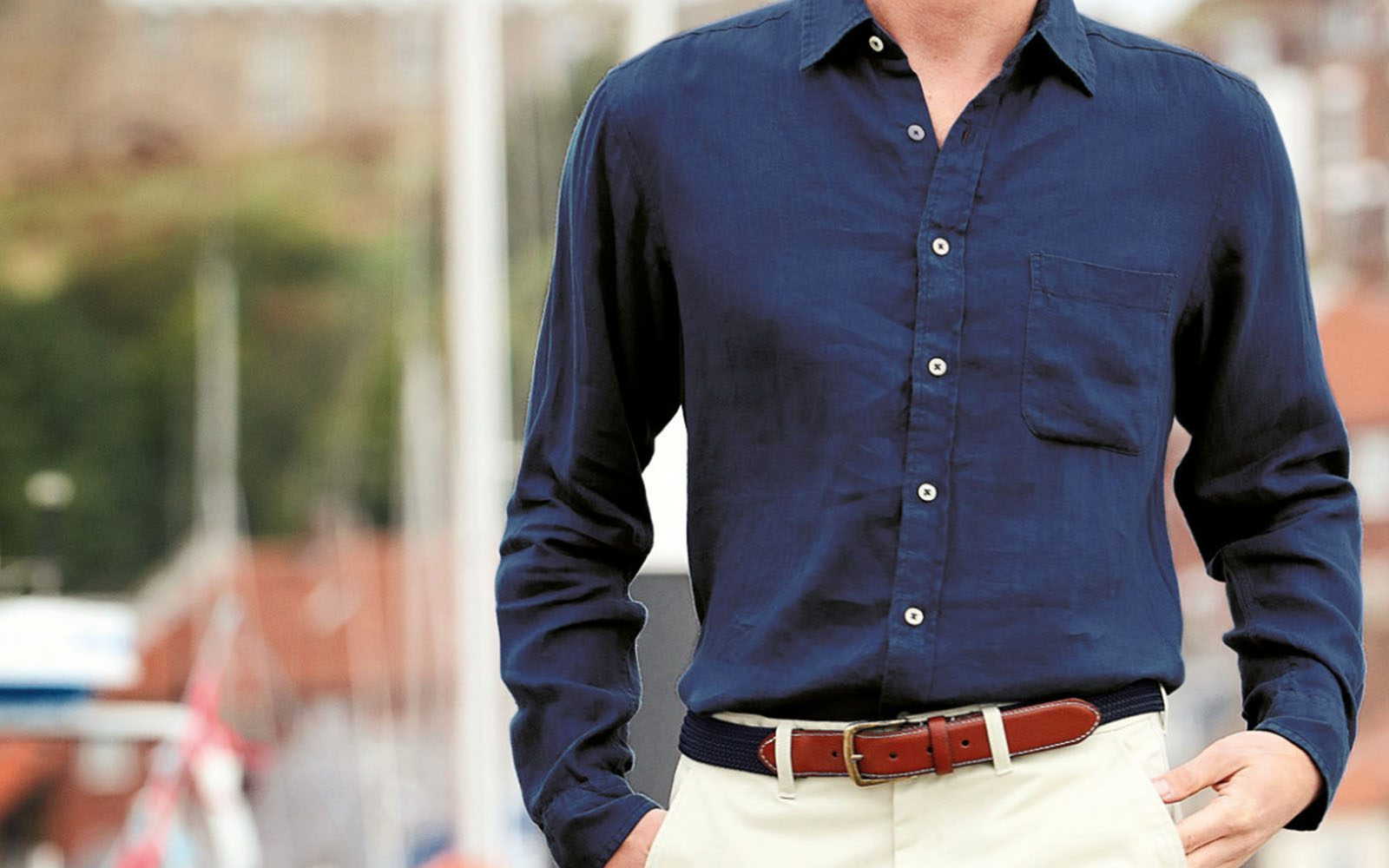 Joseph Turner Navy Linen Shirt