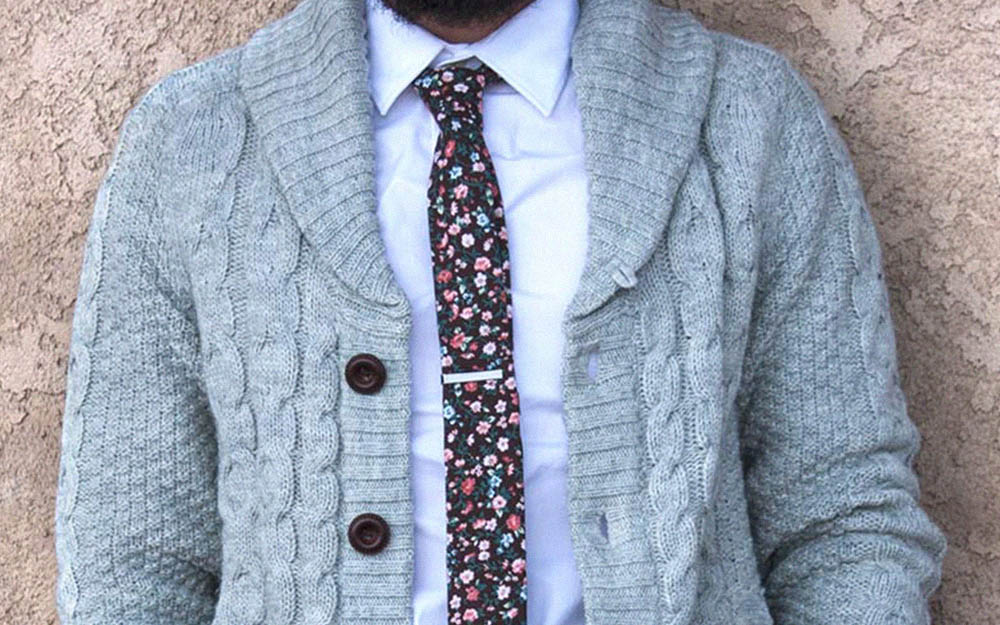ties.com men's cardigans with tie bar