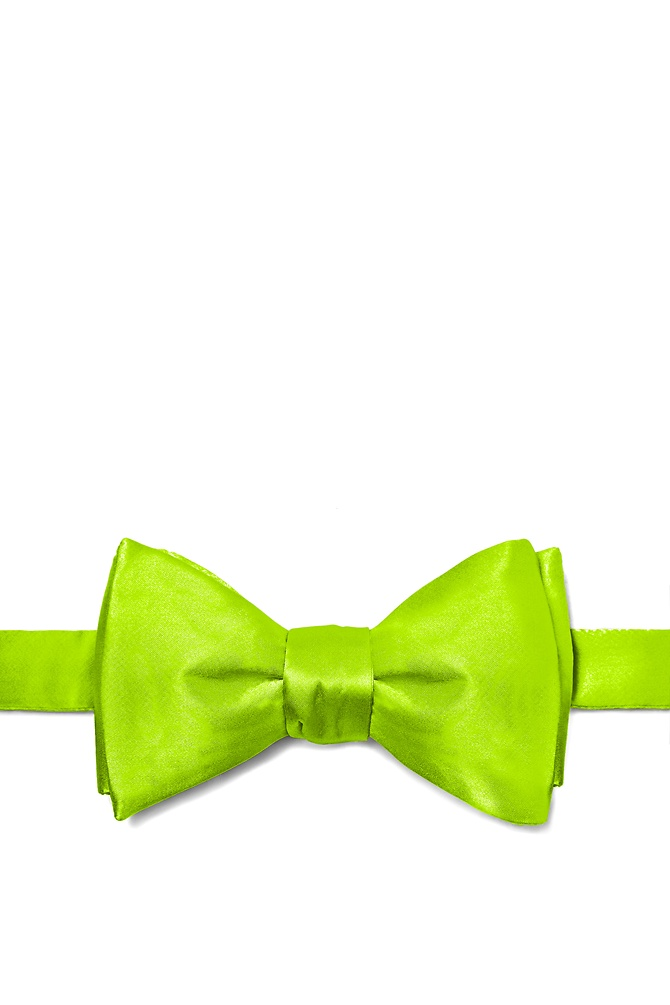 Lime Green Self-Tie Bow Tie by Elite Solid -  Lime green Silk The secret to dressing well is found in the little things the details. And one of the most important details for a man is the bowtie. Crisp and refined a well cared for bowtie knotted firmly about your neck is the mark of a man of sophistication. And it is this sort of sophistication found bustling within this all-silk men's bowtie. Rendered in a rich lime green hue this elegant bowtie will get you noticed without distracting from your overall appearance. After all that's what good clothing should do. Imported.