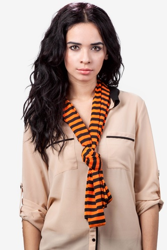 Vintage Scarves- New in the 1920s to 1960s Styles Traveling Stripe Scarf by Scarves.com -  Orange Polyester $25.00 AT vintagedancer.com