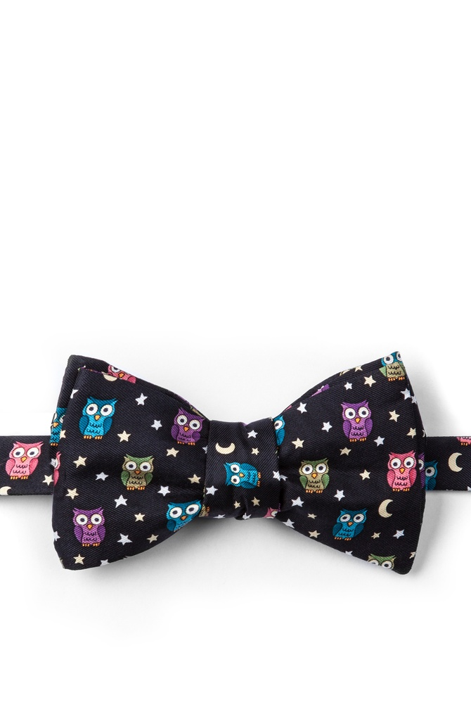 """Night Owl Bow Tie by Alynn Bow Ties -  Black Silk"""