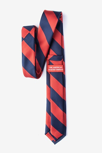 1960s Style Men's Clothing, 70s Men's Fashion Red  Navy Stripe Skinny Tie by American Necktie Co. -  Red Microfiber $20.00 AT vintagedancer.com