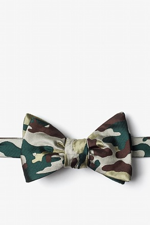 Woodland Camo Beige Self-Tie Bow Tie