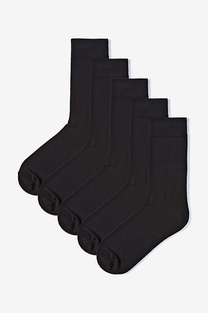 Solid Black 5 Sock Pack