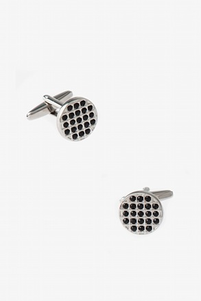 Bejeweled Round Black Cufflinks