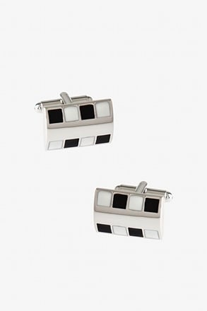 Bejeweled Rounded Plate Black Cufflinks