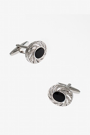 Embellished Oval Black Cufflinks