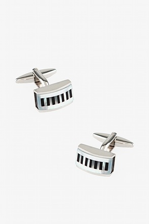 Rectangular Pearly Stripes Black Cufflinks
