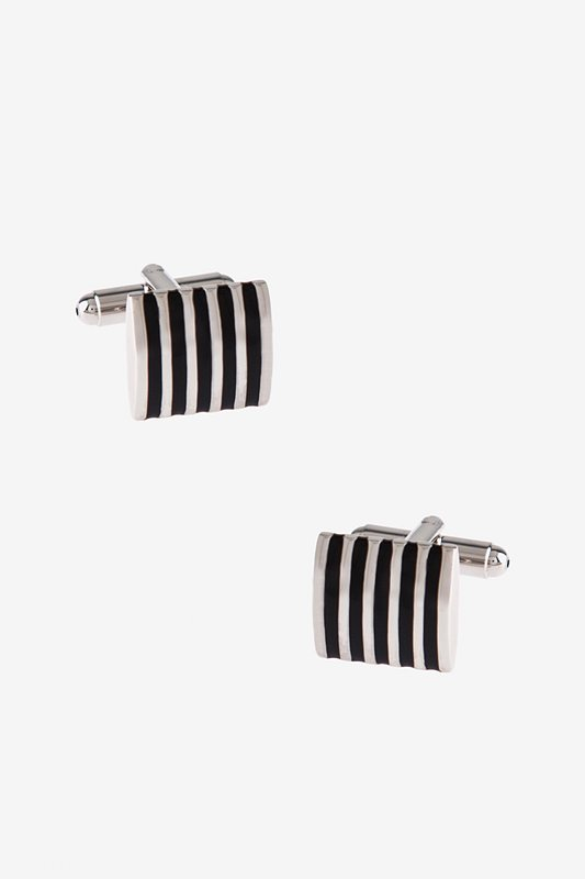 Solid Striped Square Black Cufflinks Photo (0)