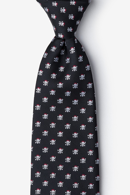 Christmas Skulls Black Extra Long Tie Photo (0)