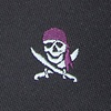Black Microfiber Pirate Skull and Swords Extra Long Tie