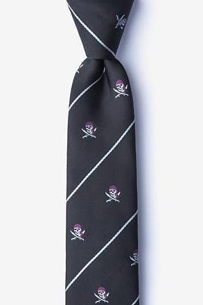 Pirate Skull and Swords Black Skinny Tie