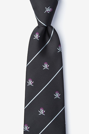 Pirate Skull and Swords Black Tie