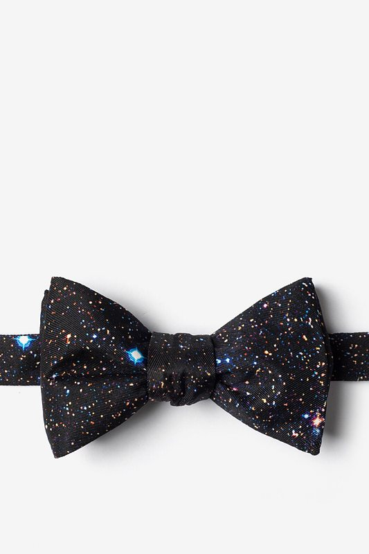 Spaced Out Black Self-Tie Bow Tie Photo (0)