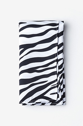 Zebra Animal Print Black Pocket Square