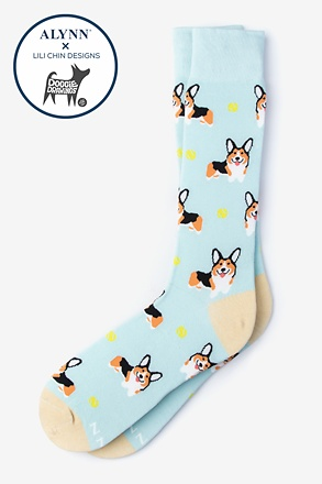 Corgi Dog Blue Sock