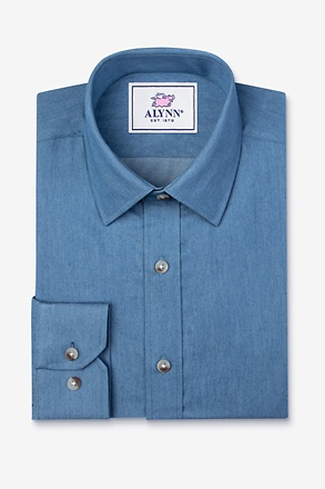 Liam Denim Blue Slim Fit Untuckable Dress Shirt