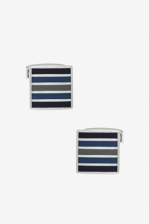 Drew Striped Square Blue Cufflinks