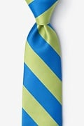 Blue Microfiber Blue & Lime Stripe Extra Long Tie