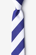 Blue & White Stripe Skinny Tie Photo (0)