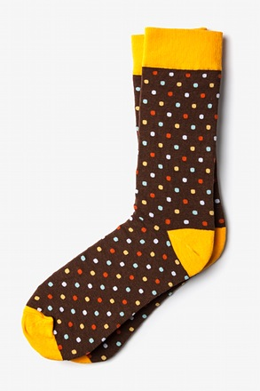 Santa Ana Polka Dot Brown Sock