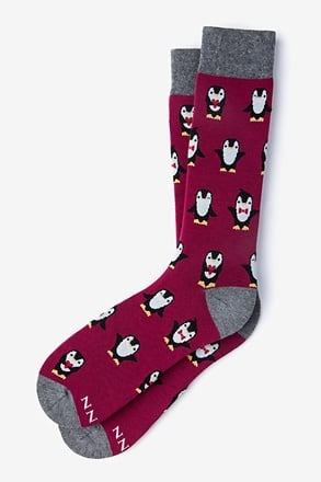 Penguin Burgundy Sock