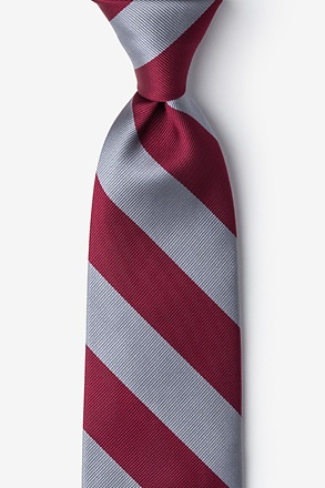 _Burgundy & Gray Stripe Tie_