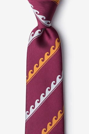 _Ocean Waves Burgundy Tie_