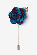 Two-toned Flower Gold Leaf Burgundy Lapel Pin