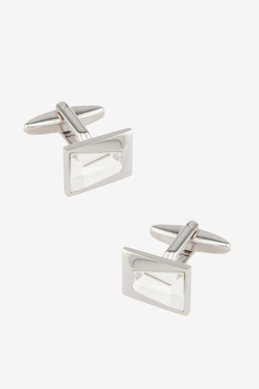 Euclid Rectangle Clear Cufflinks Photo (0)
