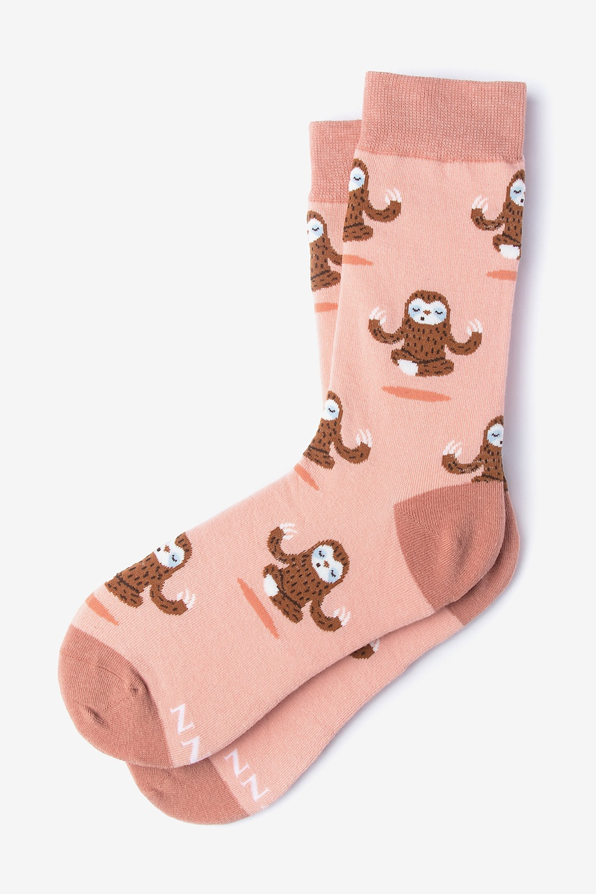 Sloth Yoga Coral Women's Sock Photo (0)