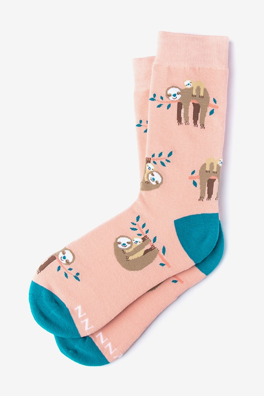 That Sloth Life Coral Women's Sock Photo (0)