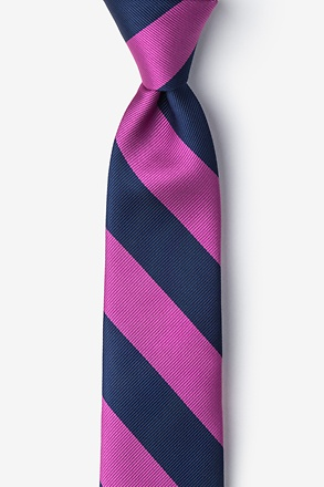 Fuchsia & Navy Stripe Tie For Boys