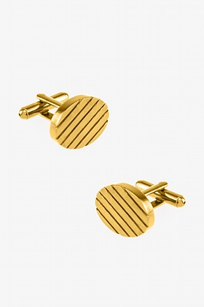 _Oval Grooves Gold Cufflinks_