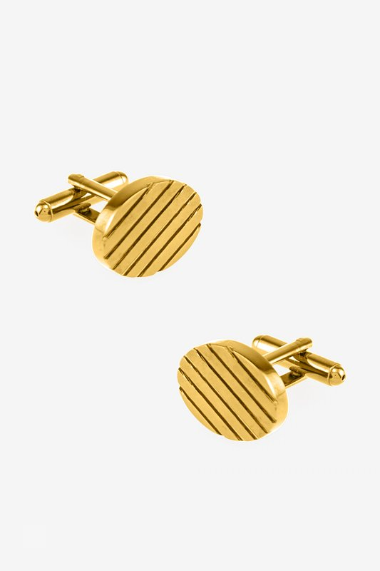 Oval Grooves Gold Cufflinks Photo (0)