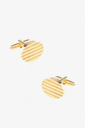 Solid Engraved Oval Gold Cufflinks