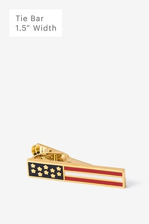 Stars & Bars Gold Tie Bar