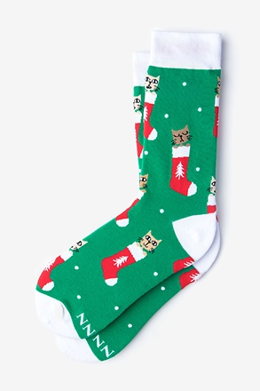 Meowy Christmas Green Women's Sock