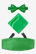 Green Silk Kelly Green Pretied Bow Tie Cummerbund Set