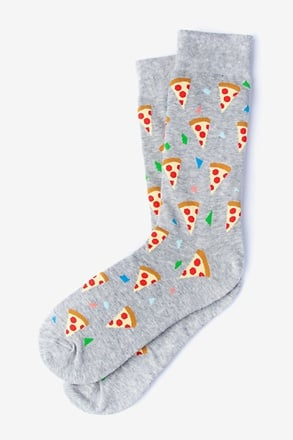 Pizza Party Heather Light Gray Sock
