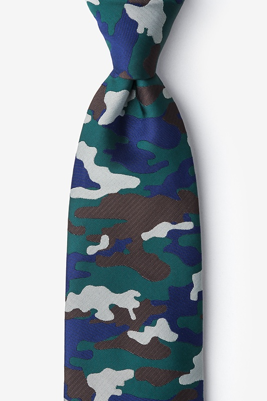 Camouflage Woodland Hunter Green Extra Long Tie Photo (0)