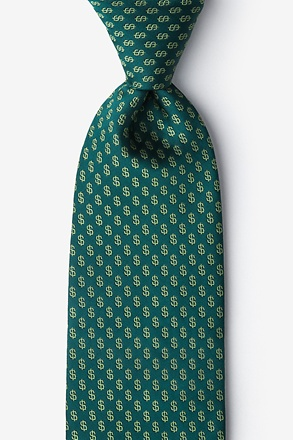 Dollar Signs Hunter Green Extra Long Tie