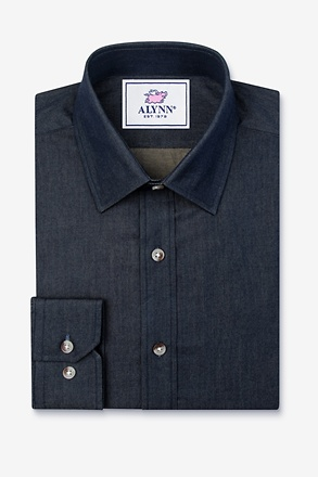 Liam Denim Indigo Slim Fit Untuckable Dress Shirt