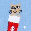 Light Blue Carded Cotton Meowy Christmas Sock
