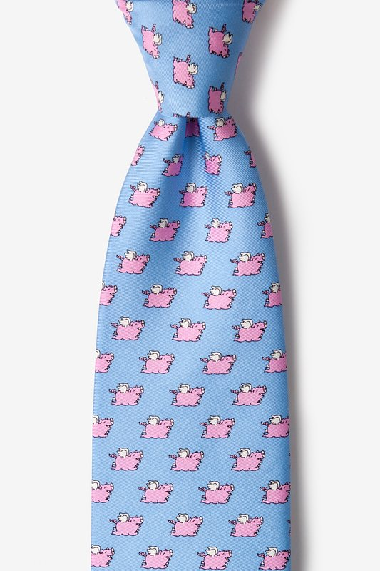 When Pigs Fly Light Blue Tie Photo (0)