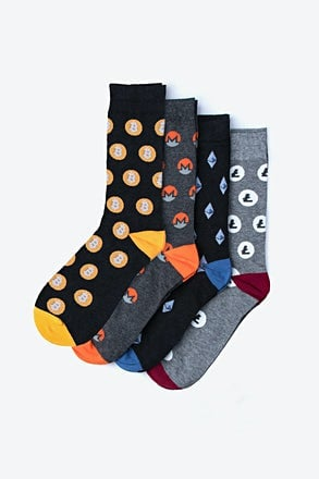 Cryptocurrency Sock Set | Bitcoin Monero Litecoin Ethereum Ripple Socks for Men | Ties.com