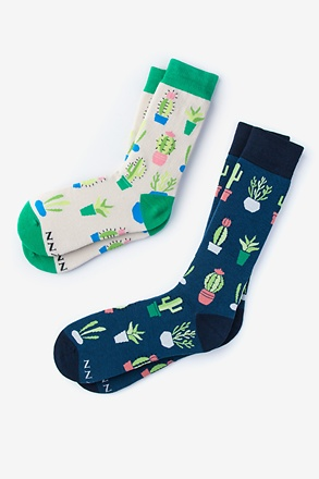_Succulent Multicolor His & Hers Socks_